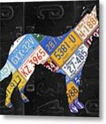 German Shepherd Dog Pet Owner Love Vintage Recycled License Plate Artwork Metal Print