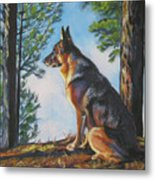 German Shepherd Lookout Metal Print by Lee Ann Shepard