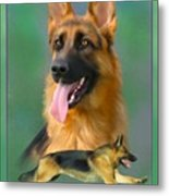 German Shepherd With Name Logo Metal Print