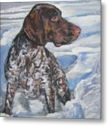 German Shorthaired Pointer In The Snowdrift Metal Print