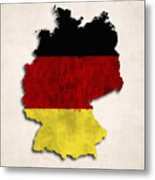 Germany Map Art With Flag Design Metal Print