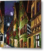 Germany Ulm Old Street Night Moon Metal Print