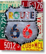 Get Your Kicks On Route 66 Recycled Vintage State License Plate Art By Design Turnpike Metal Print
