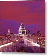 Ghostly Commuters Head To St Pauls On Millennium Bridge Metal Print