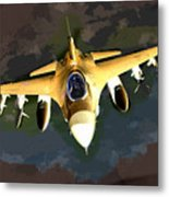 Ghostly Fighter Jet In The Sky Above The Earth Metal Print