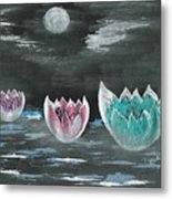 Giant Lilies Upon Misty Waters Metal Print