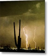 Giant Saguaro Southwest Lightning  Peace Out  Metal Print