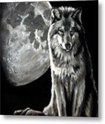 Gibbous Wolf Metal Print