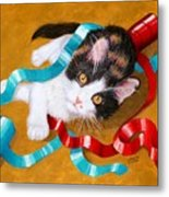 Gift Wrapped Kitty Metal Print