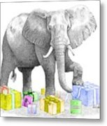 Gift Wrapping Elephant Metal Print