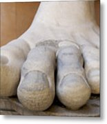 Gigantic Foot From The Statue Of Constantine. Rome. Italy. Metal Print by Bernard Jaubert