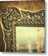 Gilded Mirror Reflection Of Chandelier Metal Print