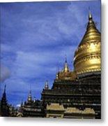 Gilded Stupa Of The Shwezigon Pagoda In Bagan Metal Print