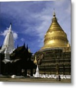Gilded Stupa Of The Shwezigon Pagoda Metal Print by Sami Sarkis