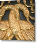 Gilded Temple Carving Of Geese Metal Print
