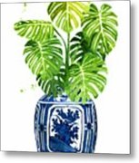 Ginger Jar Vase 1 With Monstera Metal Print