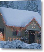 Gingerbread House In Snow Metal Print