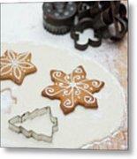 Gingerbread Making - Christmas Preparing With Vintage Kitchen Tools Metal Print