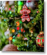 Gingerbread Man With Happy New Year 4350 Metal Print