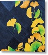 Ginkgo Leaves On Pavement Metal Print