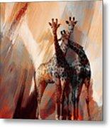 Giraffe Abstract Art 002 Metal Print