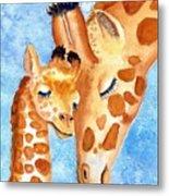 Giraffe Baby And Mother Metal Print