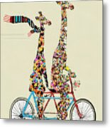 Giraffe Days Lets Tandem Metal Print