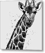 Giraffe In Black And White Metal Print