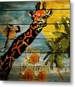 Giraffe Rustic Metal Print