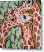 Giraffe Trio By Christine Lites Metal Print by Allen Sheffield