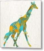 Giraffe Watercolor Art Metal Print