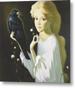 Girl And Bird Metal Print