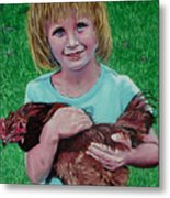 Girl And Chicken Metal Print