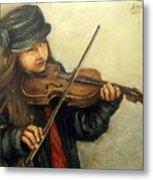 Girl And Her Violin Metal Print