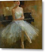 Girl And Piano Metal Print