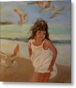 Girl And The Seagulls Metal Print