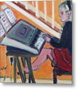 Girl At Keyboard Metal Print
