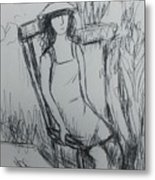 Girl At The Garden Metal Print