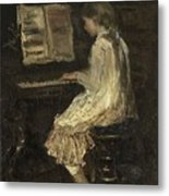Girl At The Piano Metal Print