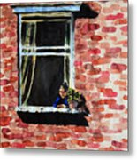 Girl At Window Metal Print