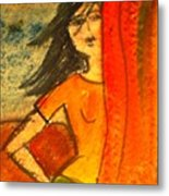 Girl Behind The Curtain Metal Print