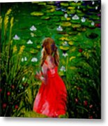Girl By Lily Pond Metal Print
