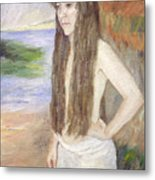 Girl By The Shore Metal Print