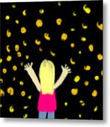 Girl Dancing With Fireflies Metal Print