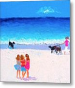 Girl Friends - Beach Painting Metal Print
