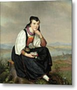 Girl From Hessen In Traditional Dress Metal Print