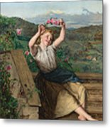 Girl Holding Up A Wreath Of Roses Metal Print