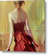 Girl In A Copper Dress I Metal Print