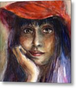 Girl In A Red Hat Portrait Metal Print