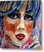 Girl In Blue And Gold Metal Print